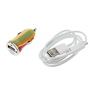 Yellow&Green&Red Stripe Pattern Bullet Shape Car Charger for Samsung Cell Phones and Other Brands