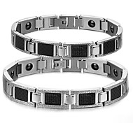 Fashion Couple's Health Magnet Stainless Steel  Bracelet (2 Pc)