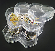 Acrylic Transparent Loving Heart Double Layer Drawer Jewlery Storage Box