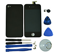 Touch Screen Digitizer LCD with Glass Back Housing Cover,Home Button Replacement and Tools for iPhone 4