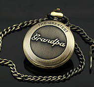 Men's Grandpa Pattern Bronze Alloy Quartz Pocket Watch