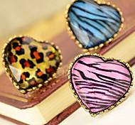 jour cadeau alliage imprimé léopard coeur Déclaration des anneaux de femmes réglables (plus de couleurs) (1 pc)