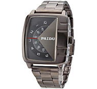мужская проигрыватель дизайн прямоугольник набора стальной ленты кварцевые аналоговые наручные часы