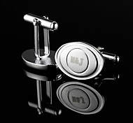 Personalized Gift Oval Silver Engraved Cufflinks