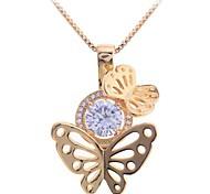 Lureme®Zircon Butterfly Pendant Necklace\