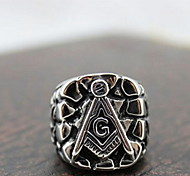 Z&X®  Ethnic ilver And Black Alloy Men's tatement Ring(1 Pc)   Christmas Gifts
