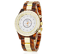 Women's Diamond Case Plastic & Alloy Band Quartz Analog Wrist Watch (Assorted Colors)