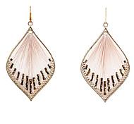 Nappe europee (goccia a forma di diamante) lega di oro con rosa in tessuto di goccia Orecchini (1 coppia)