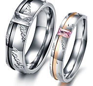 Classic Lovers Stainless Steel Affection Inlaid Zircon Couple Rings (2 Pcs)