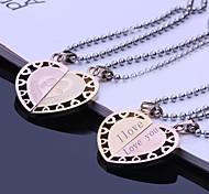 Персонализированные Подарочные Пары ювелирные изделия нержавеющей стали Гравировка подвеска любителей ожерелье с 60см цепи