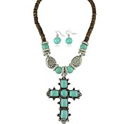 European Style Alloy Turquoise Necklace Earring Jewelry Set