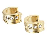 presente para namorado europeu de titânio de aço de strass brincos de ouro (1 par)