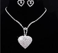 elegante de la boda de forma de corazón pendientes de cristal rhinestone y de la joyería del collar