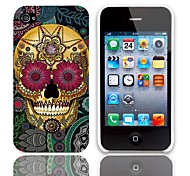 Petal Skull Design Hard Case with 3-Pack Screen Protectors for iPhone 4/4S