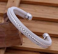 Fashion 6.5cm Women's Silver Plated Brass Cuff Bracelets(1 Pc)