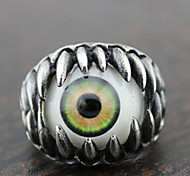 Z&X®  Gothic Silver Alloy Green Eye Men's  Statement Rings(1 Pc)
