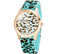 Women's Leopard Print Round Dial Silicone Band Quartz Analog Wrist Watch (Assorted Colors)