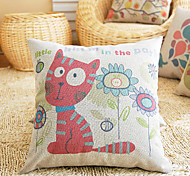 Cute Cartoon Well-behaved Kitty Pattern Decorative Pillow With Insert