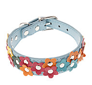 Cat / Dog Collar Adjustable/Retractable / Flower White / Blue / Pink / Yellow PU Leather