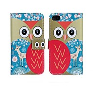 Owl Pattern PU Leather Flip-open Full Body Case with Card Slot for iPhone 4/4S