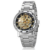 Men's Auto-Mechanical Fashion Hollow Case Gold Skeleton Steel Band Wrist Watch (Assorted Colors)