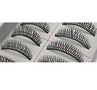 10 pares Pro mão da alta qualidade feito de fibra de cabelo sintético Natural longo e fino estilo cílios postiços