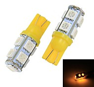 Merdia T10 9 x 5050 SMD LED Yellow Light Light Reading / Instrumento ligero / Liquidación Lámpara (par / 12 V)