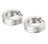 presente para o namorado de moda linhas finas brincos de aço titânio prata (1 par)