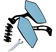 KOSO Motorcycle Remould Parts Aluminium Material Anti-dizzling Rhombus Blue Glass Rearview Mirror (Pair)
