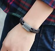 Fashion  24cm Men's Brown  Leather Bracelet()(1 Pc)