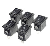 MR-3-203 Switch 3-Pin Rocker barco - Negro (Paquete de 5 piezas, Negro)