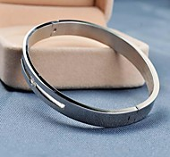 Fashion 7cm Women's Silver 316L Stainless Steel Hollow Out Diamond Bangle
