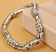 Fashion 22cm Men's Silver Stainless Steel Screw Thread Tennis Bracelet