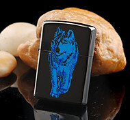 Personalized Father's Day Gift Engraved Wolf Pattern Black Oil Lighter