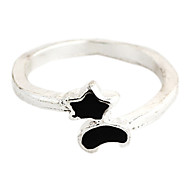 Sweet Black Star And Moon Women's Silver Alloy Statement Rings(1 Pc)