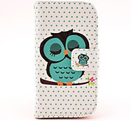 Case Completa com Entrada de Cartão e Fecho Magnético para Samsung Galaxy S3 Mini I8190 - Coruja Dormindo