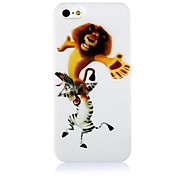 Lion and  Zebra Pattern Silicone Soft Case for iPhone5/5S