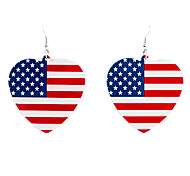 Fashion (Heart Shaped US Flag Pattern Drop) Black Acrylic Drop Earrings (1 Pair)