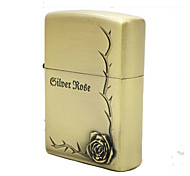 Personalized Father's Day Gift Engraved Rose Pattern Bronze Oil Lighter