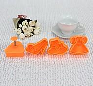 High Quality Plastic Material 4PCS/Set  Bakeware Cookie Cutter Vogue Style Mold (Random Color)