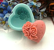 Heart Shaped and Rose Silicone Fondant Cake Mold