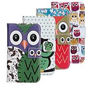 Cas beau modèle de hibou de bande dessinée Faux cuir Flip avec fentes de carte Fermeture pour iPhone 4 et 4S