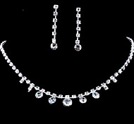 Wedding Elegant Rhinestone Crystal Earrings & Necklace Jewelry Set
