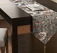 Broderie de soie Narcisse Motif Table Runner Bleu