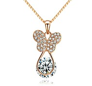 18K Rose Gold Plated Crystal Butterfly Pendant Necklace