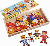 Baby  Educational Toys Wooden Bear Wear Puzzle