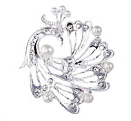 Estilo de la boda de la broche de diamantes de imitación de plata elegante plateó (color al azar)