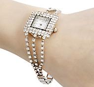 Women's Diamante Square Dial Alloy Band Quartz Analog Bracelet Watch