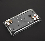 Rhinestone Flowers Pattern Transparent Plastic Hard Back Case Cover for Nokia Lumia 520