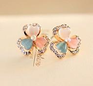 Gift For Girlfriend Korea-Style Whitetip Clover Alloy Stud Earring(1 Pair)